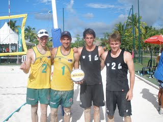 Sam Boehm and Russel Moore from Australia (left) beat New Zealand's pairing of Darryl Lewis and James Gilling in the finals of the 2012 Oceania Beach Volleyball Championships in Tahiti